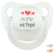 Chupete Baby Deco Blanco Mi amor, mi Papá