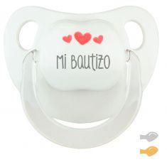 Chupete Baby Deco Blanco Mi Bautizo