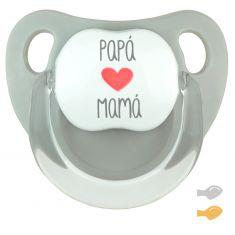 Chupete Baby Deco Gris Papá Corazón Mamá