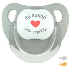 Chupete Baby Deco Gris Mi Mamá me mima