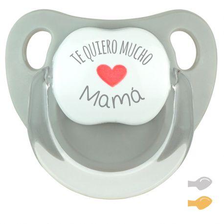 Chupete Baby Deco Gris Te quiero mucho Mamá