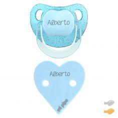 Pack Dúo Baby Glitter Corazón Azul Personalizado