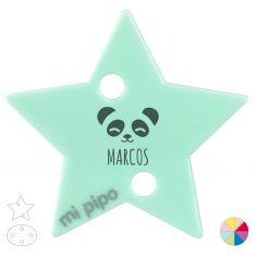 Broche Pinza Personalizado Nombre + Oso Panda