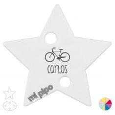 Broche Pinza Personalizado Nombre + Bicicleta