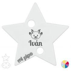 Broche Pinza Navideño Personalizado Nombre + reno