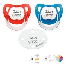 Pack de 2 chupetes Baby + broche blanco personalizados
