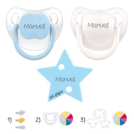 Pack de 2 chupetes Baby + broche formas personalizado