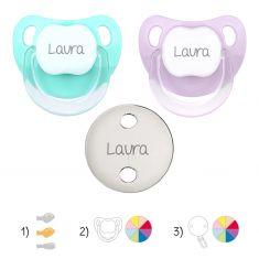 Pack de 2 chupetes Baby + broche metalizado personalizados