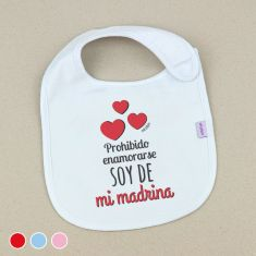 Babero Divertido Prohibido enamorarse soy de mi Madrina +3m Rojo, Azul o Rosa