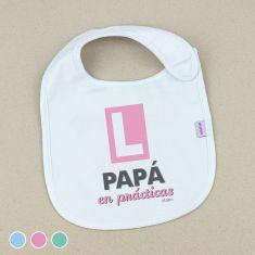Babero Divertido Papá en prácticas +3m Menta, Azul o Rosa