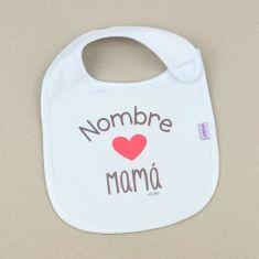 Babero Divertido Nombre corazón Mamá +3m personalizado