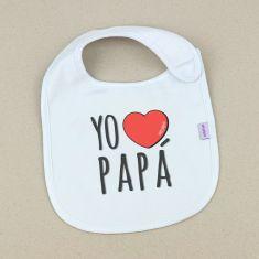 Babero Divertido Yo corazón Papá