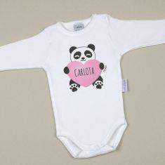 Babidu Body Personalizado Nombre + Oso Panda Corazón Rosa