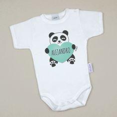 Babidu Body Personalizado Nombre + Oso Panda Corazón Menta