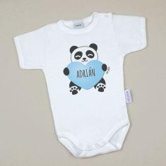 Babidu Body Personalizado Nombre + Oso Panda Corazón Azul