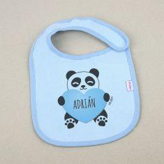 Babero Personalizado Nombre + Oso Panda corazón Azul +3m