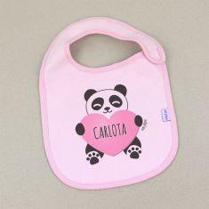 Babero Personalizado Nombre + Oso Panda corazón Rosa +3m