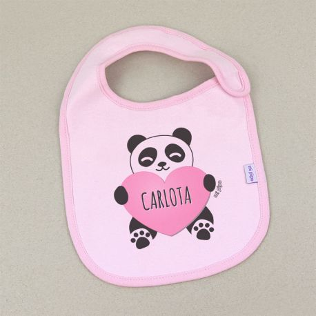 Babero Personalizado Panda Corazón Rosa