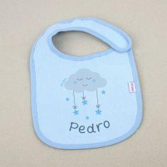 Babero Personalizado Nombre + Nube Azul +3m