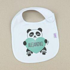 Babero Personalizado Nombre + Panda Corazón Menta +3m