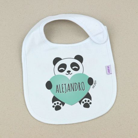 Babero Personalizado Panda Corazón Menta