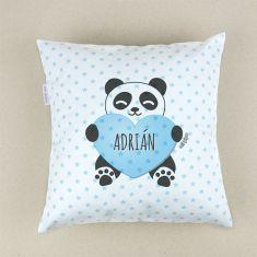 Cojín cuadrado piqué Panda corazón Azul personalizado