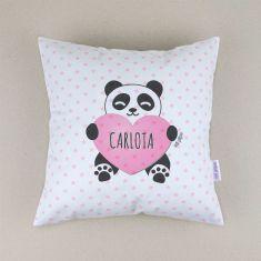 Cojín cuadrado piqué Panda corazón Rosa personalizado