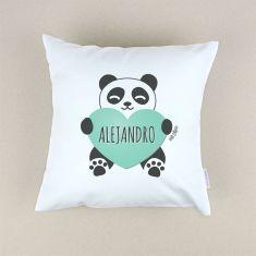 Cojín cuadrado piqué Panda corazón Menta personalizado