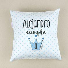 Cojín cuadrado Corona Azul Cumpleaños personalizado