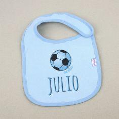 Babero Personalizado Nombre + Balón Azul +3m