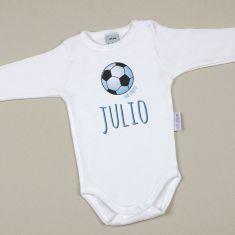 Babidu Body Personalizado Nombre + Balón Futbol Azul