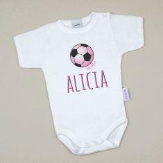 Babidu Body Personalizado Nombre + Balón Futbol Rosa