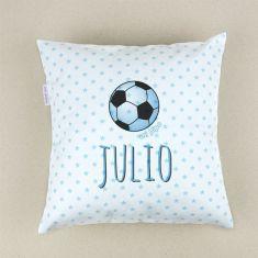 Cojín cuadrado piqué Futbol Azul personalizado