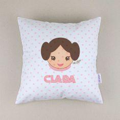 Cojín cuadrado piqué Princesa Leia personalizado