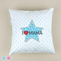 Cojín cuadrado piqué I love Mamá con estrella Azul o Rosa