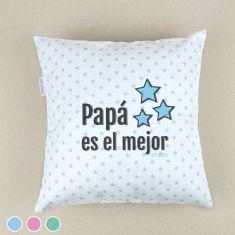 Cojín cuadrado piqué Papá es el mejor Menta, Azul o Rosa