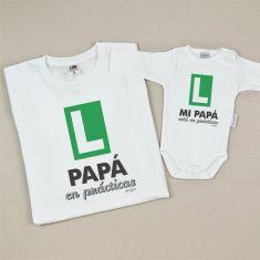 Pack Camiseta+Body Divertidos Papá en prácticas/Mi Papá está en prácticas