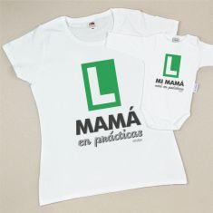 Pack Camiseta+Body Divertidos Mamá en prácticas/Mi Mamá está en prácticas