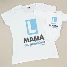 Pack Camiseta+Body Divertidos Mamá en prácticas/Mi Mamá está en prácticas Azul