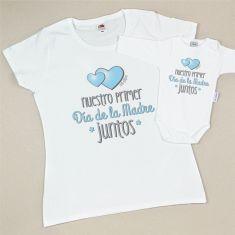 Pack Camiseta+Body Divertidos Nuestro primer día de la Madre juntos Azul