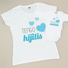 Pack Camiseta Tengo Hijitis +Body Tengo Mamitis Azul