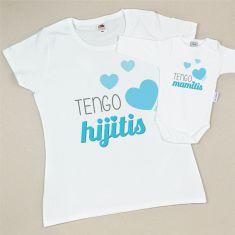 Pack 2 Prendas Mamá Tengo Hijitis + Body o Camiseta Tengo Mamitis Azul