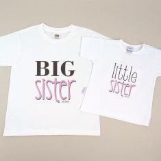 Pack 2 Camisetas Divertidas Niña y Bebé Big sister / Little sister