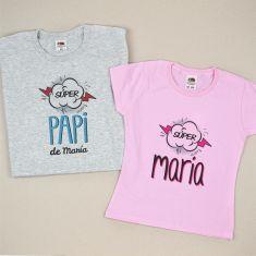 Pack 2 Camisetas Personalizadas Superpapi de (nombre niña)/ Super (nombre niña)