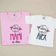 Pack 2 Camisetas Personalizadas Supermami de (nombre niño)/ Super (nombre niño)