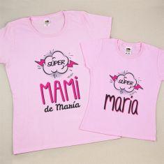 Pack 2 Camisetas Personalizadas Supermami de (nombre niña)/ Super (nombre niña)