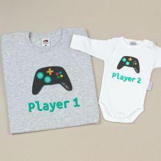 Pack 2 Camisetas Divertidas Papá Player 1/Player 2