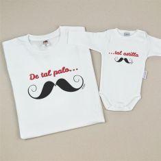 Pack 2 Camisetas Divertidas De tal palo tal astilla bigote
