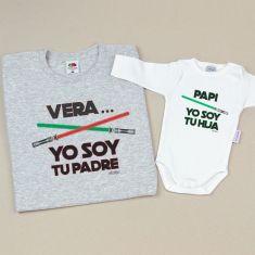 Pack 2 Camisetas Personalizadas (nombre niña) Yo soy tu Padre/Yo soy tu Hija espadas láser