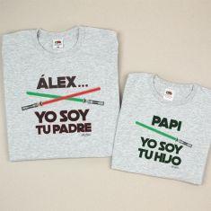 Pack 2 Camisetas Personalizadas (nombre niño) Yo soy tu Padre/Papi Yo soy tu Hijo espadas láser